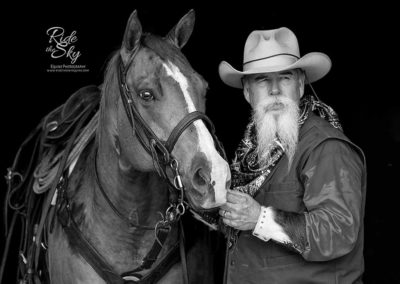 Black and White Photograph of Cowboy and Quarter Horse from the image portfolio of Ride the Sky Equine Photography