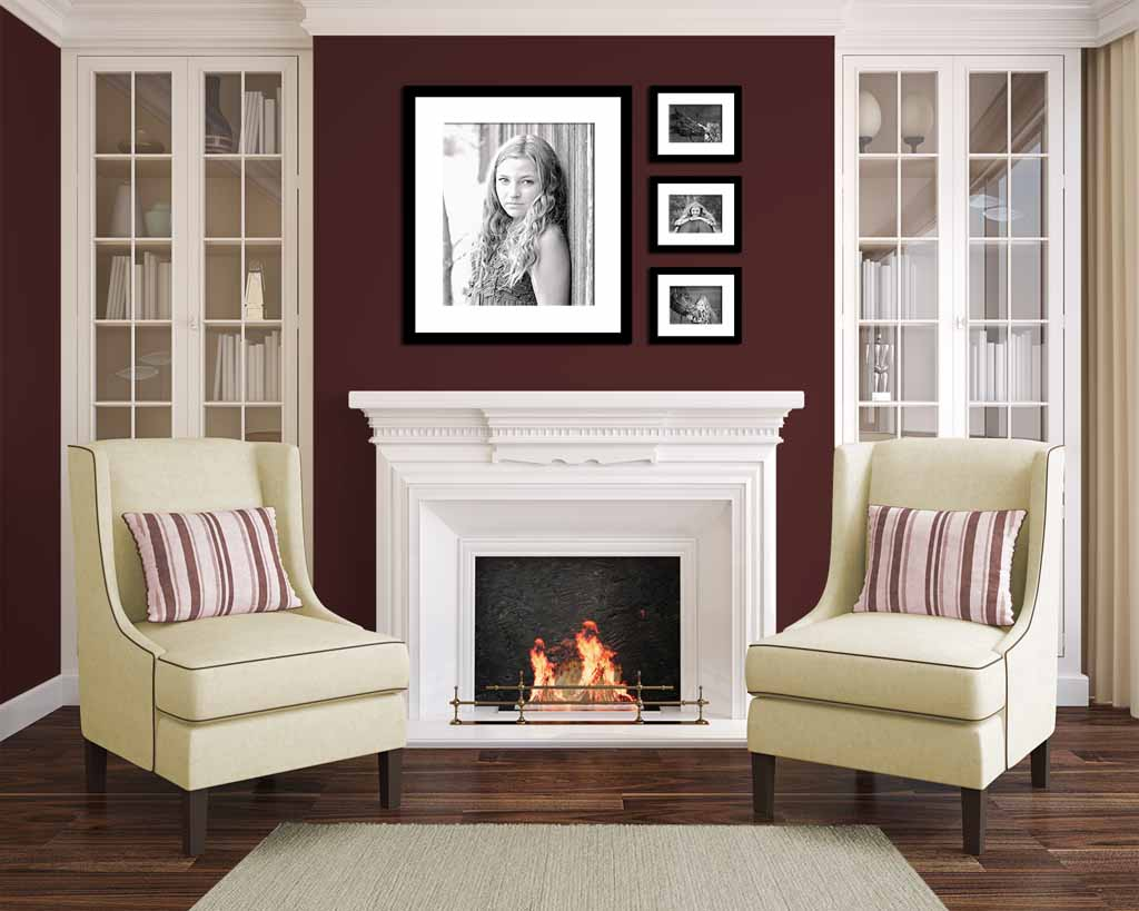 Framed Gallery Collection of Images above fireplace