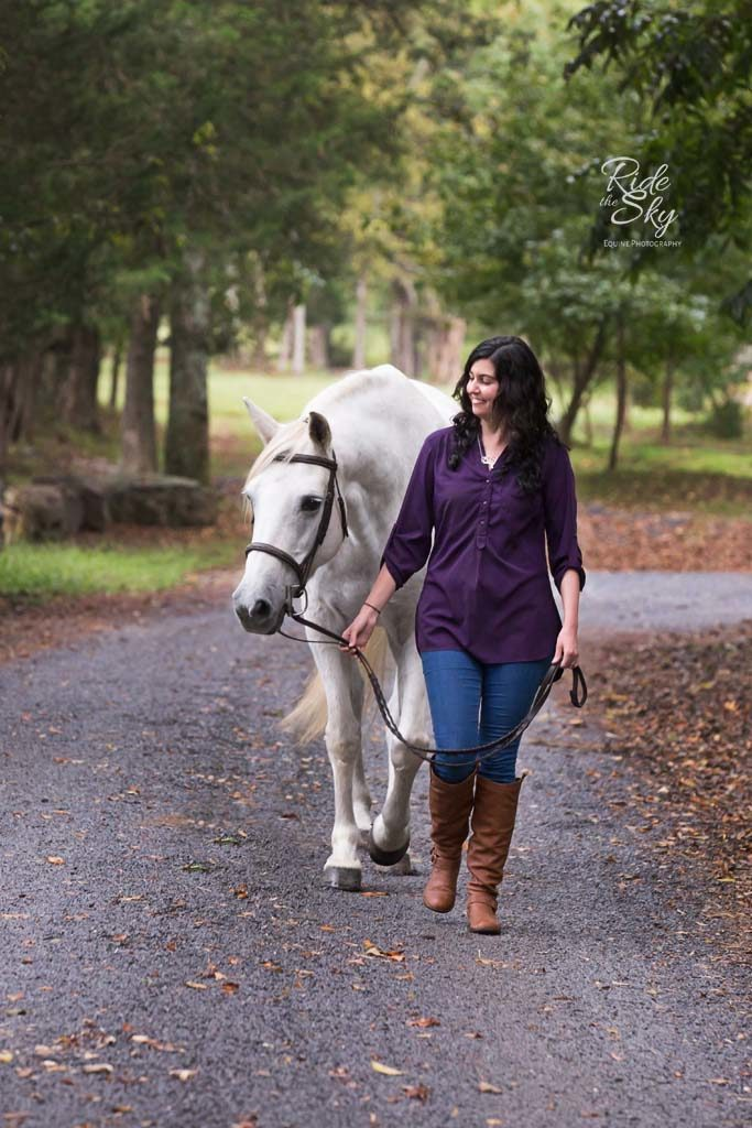 Girl and Horse walking path in Chattanooga Tennessee photographed by Ride the Sky Equine Photography