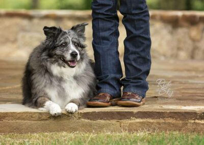 Dog pictured next to cowboy boots in Texas by Ride the Sky Equine Photography