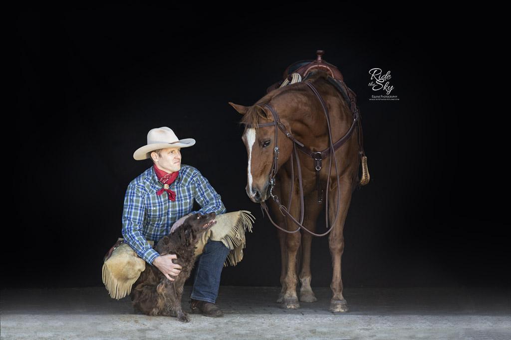 Cowboy, Dog and Horse on Black Background Portrait