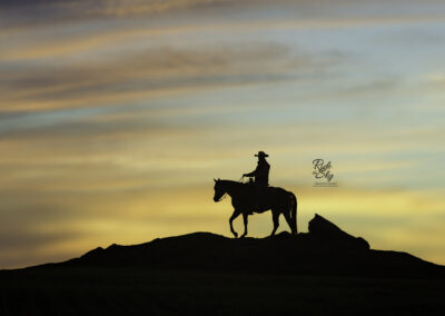 Cowboy and Horse on Ridge in Silhouette