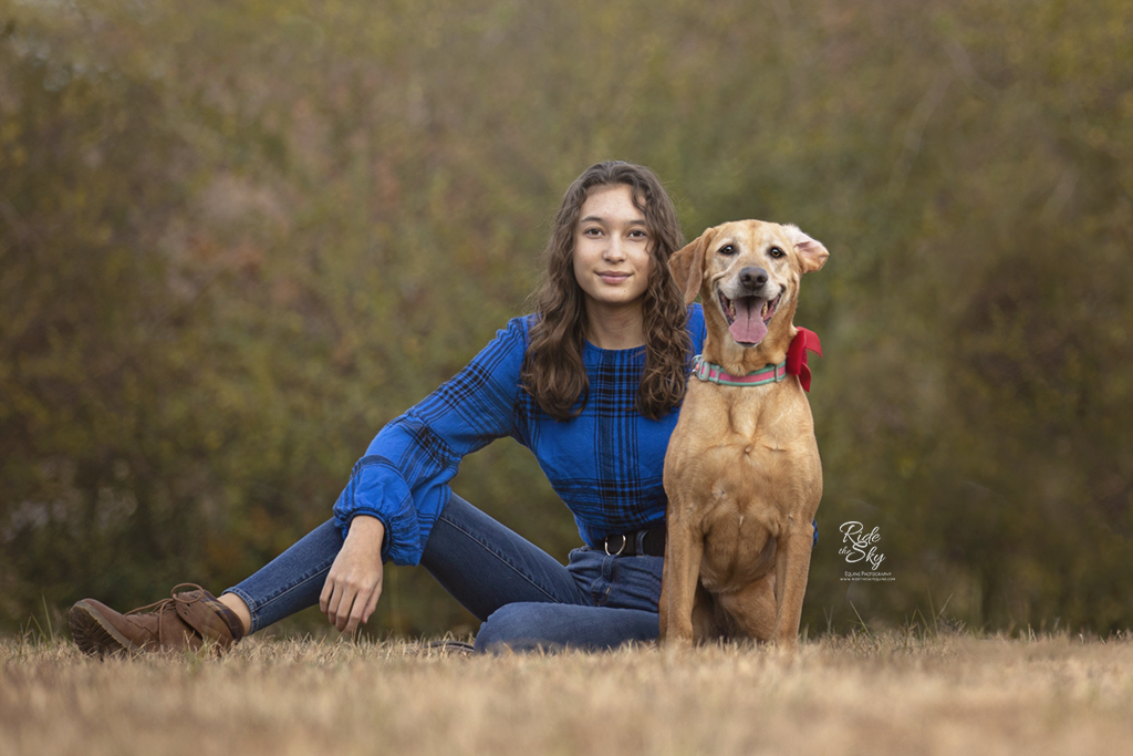 girl and dog photographed in fall field in Chattanooga tn