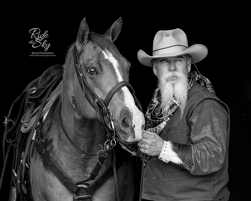 Cowboy and Quarter Horse in Black and White