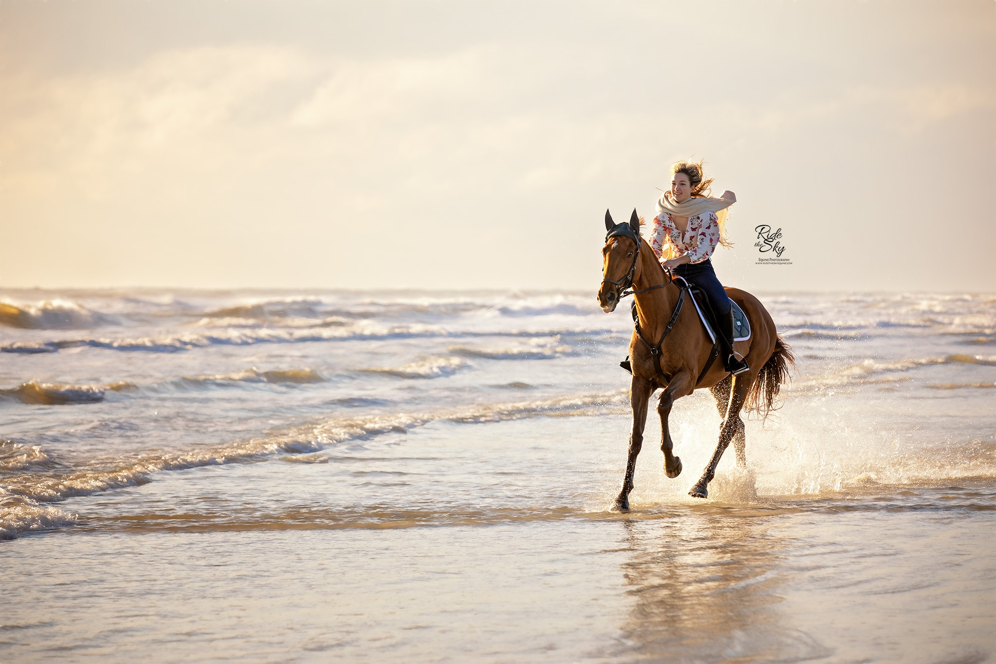 Beach Equine Photography of Girl Riding Horse on the Beach in the Ocean Waves