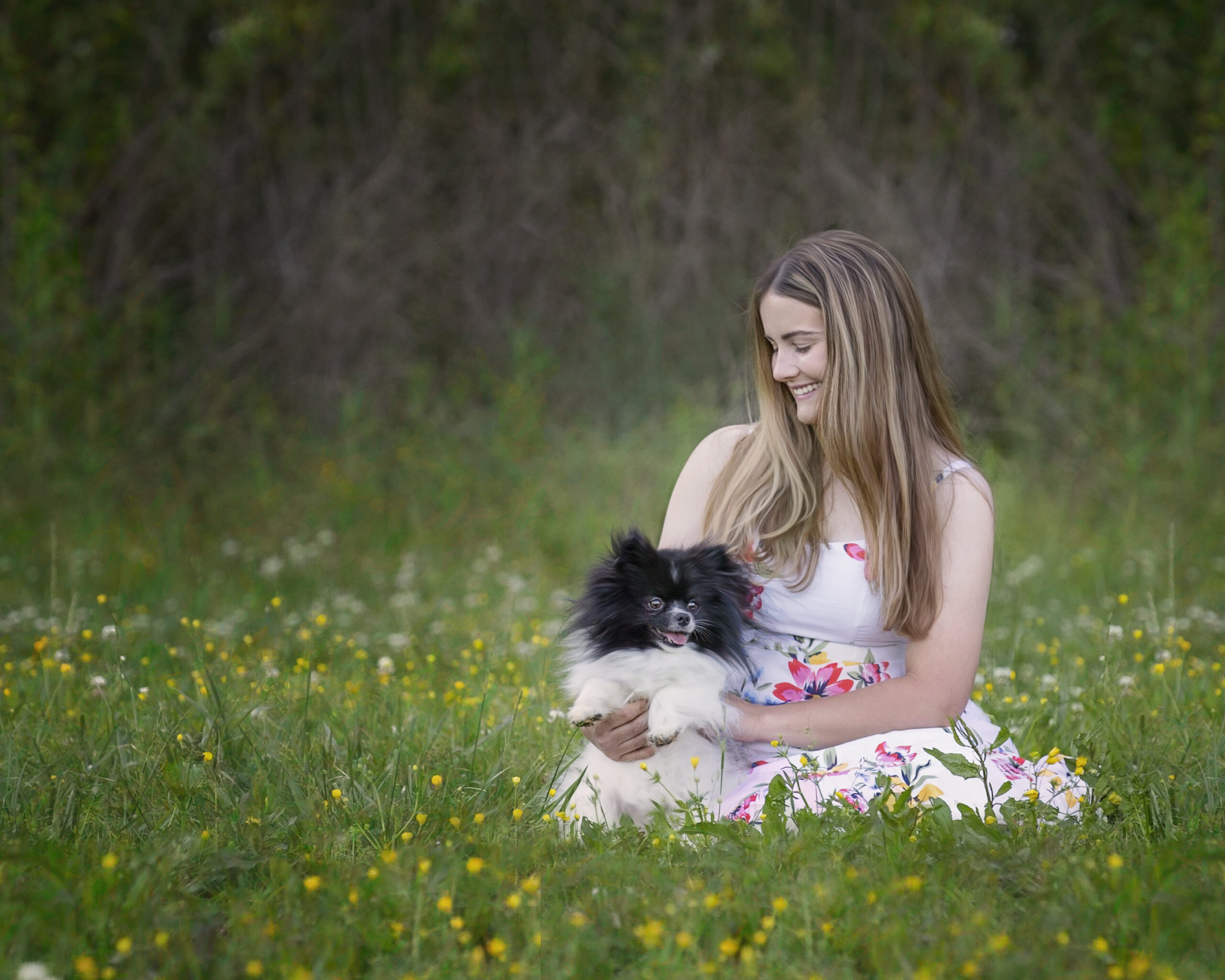 Girl and Dog in Field
