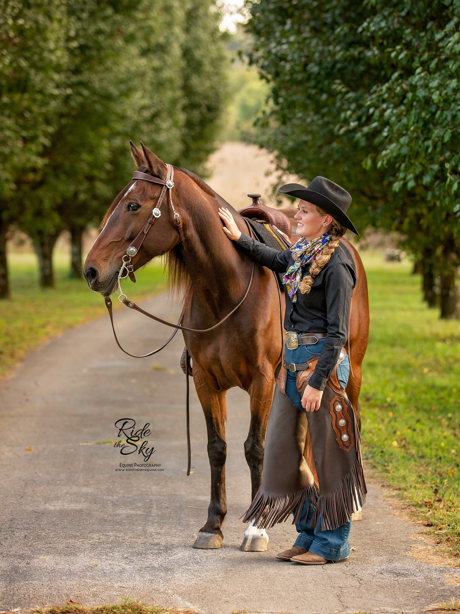 Horse Trainer and Mustang Horse Posed in Chattanooga Tennessee in Fall